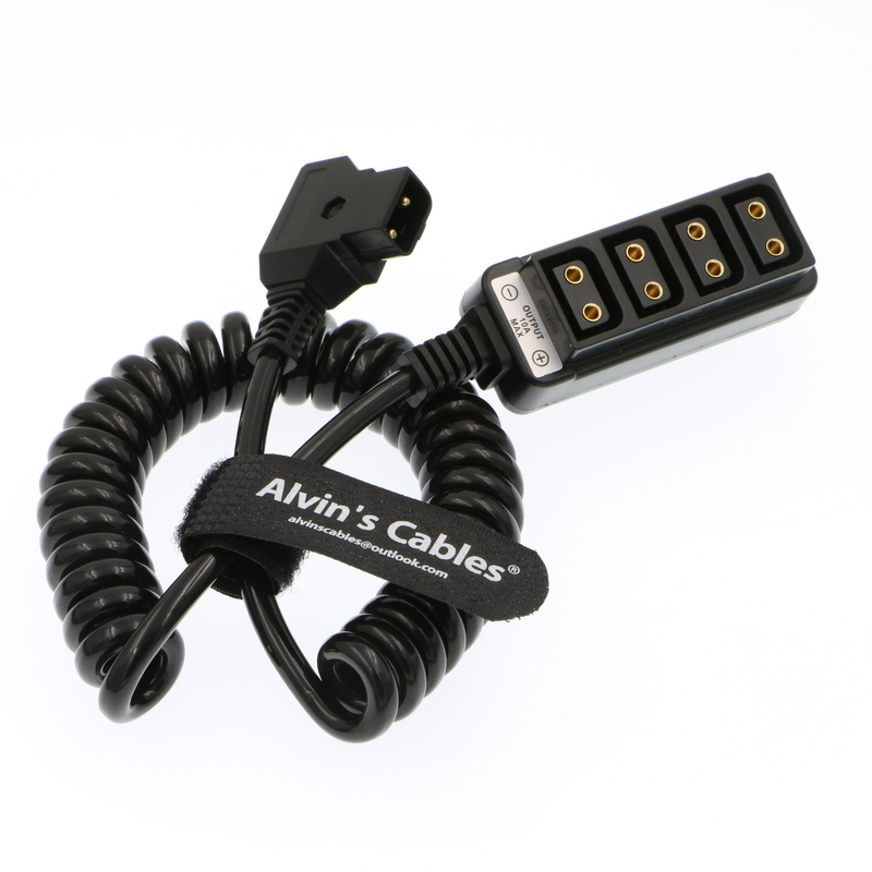 Alvin's Cables D Tap Male to 4 Port D Tap Female Coiled Splitter Cable for Anton Bauer V-Mount Battery